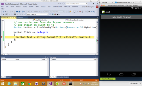 Debug with the Xamarin Android Player from Visual Studio in VMWare