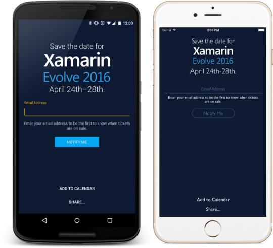 Xamarin Evolve + Open Source Save The Date App - James