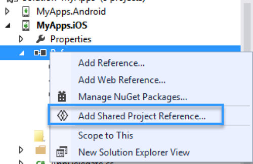 Adding Shared Projects Support For Xamarin In Visual Studio