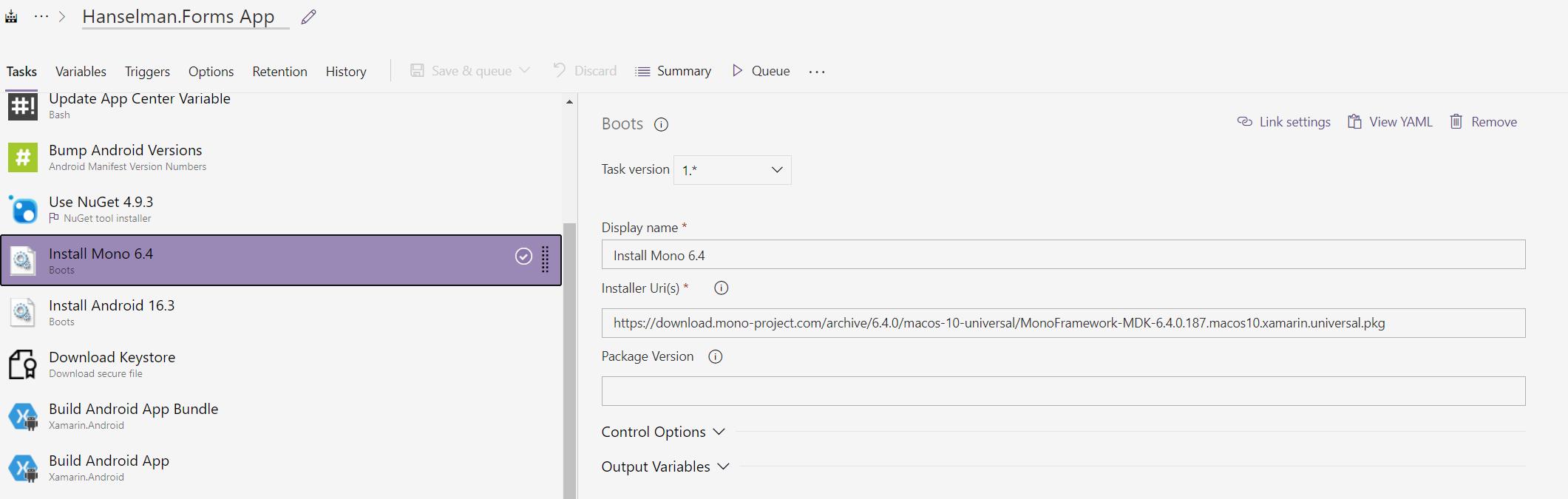 Boots task in Azure DevOps installing Mono 6.4.0