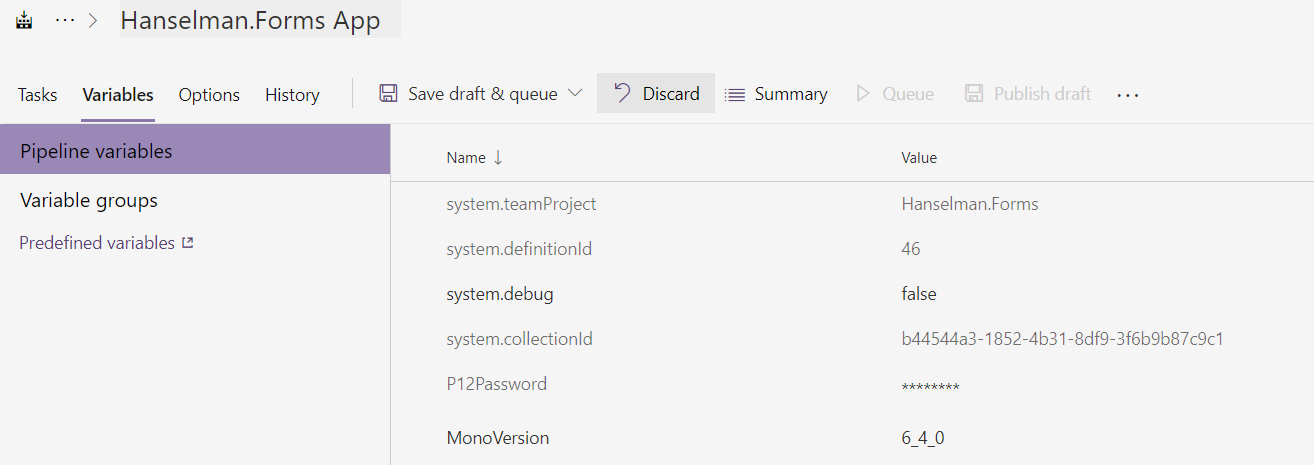 Variable in Azure DevOps specifying Mono 6.4.0