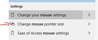 Mouse size settings window