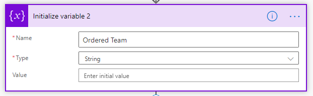 A string variable named Ordered Team
