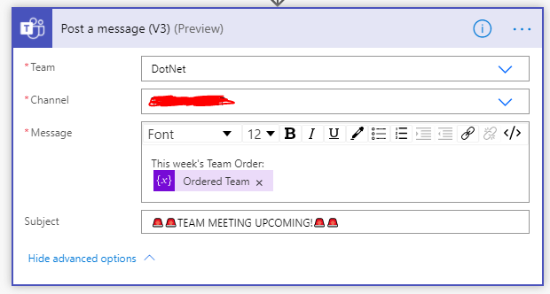 Post the ordered list to the teams channel