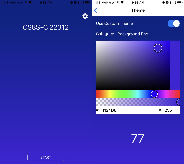 Selecting custom colors in the app