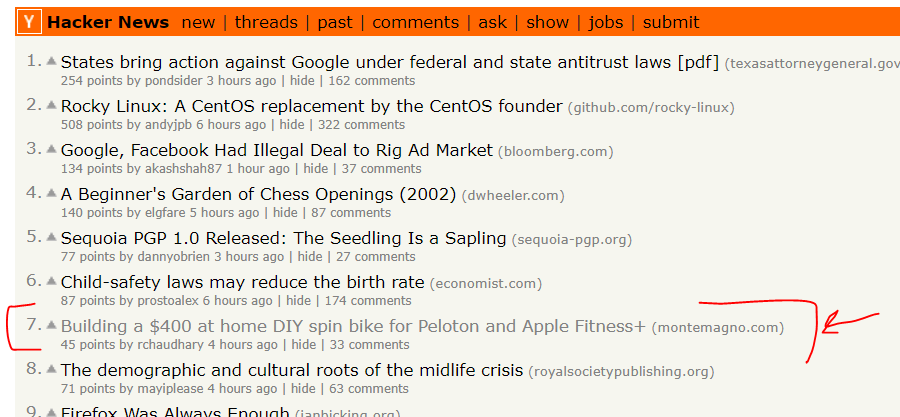 My blog at number 7 on Hacker News!