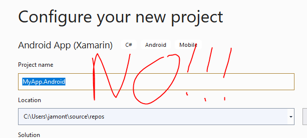 Creating a new project with Android in name