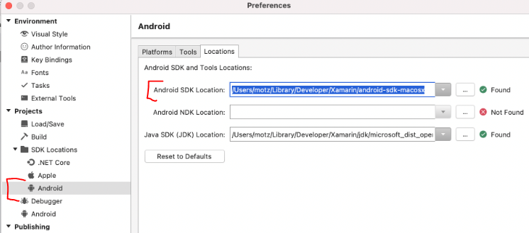 Android SDK Location in VSM