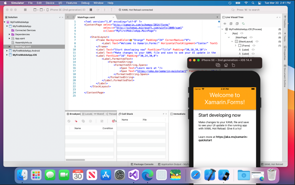 Visual Studio for mac running iOS app with Hot Reload!